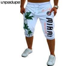 2018 Mens Shorts Casual Bermuda Brand Coconut Pattern Compression Male Cargo Shorts Men Linen Fashion Men Short Summer Linen XXL