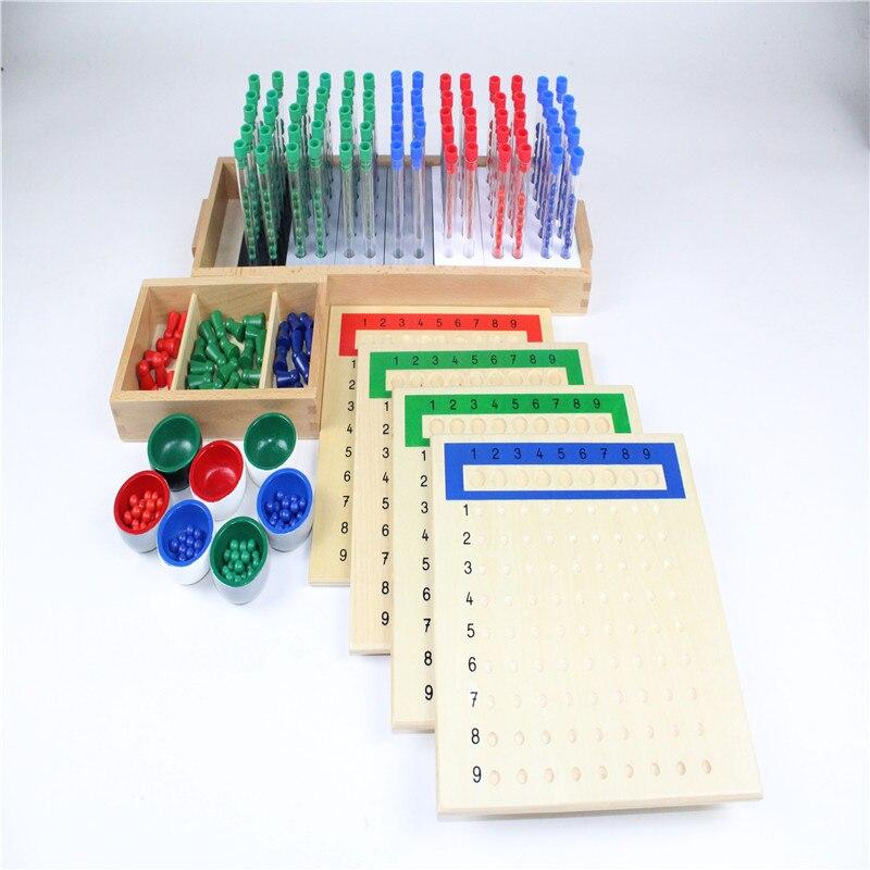 Montessori enfants jouet bébé bois Tubes longue Division groupe apprentissage éducatif préscolaire formation Brinquedos Juguets - 4