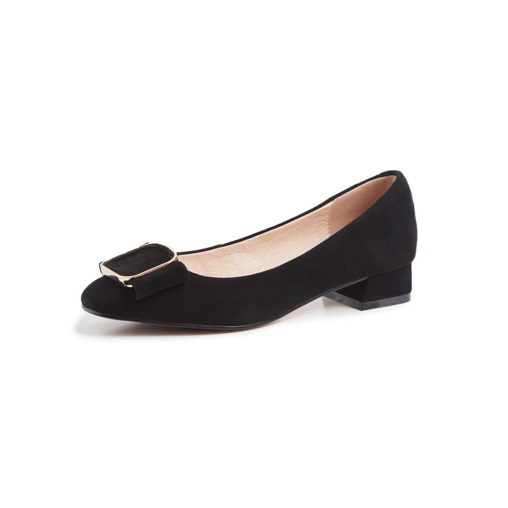 Krazing หม้อหรูหราของแท้หนังส้นสูง slip on classic square toe Hollywood movie star buckle elegant lady รองเท้า l10-ใน รองเท้าส้นสูงสตรี จาก รองเท้า บน   2