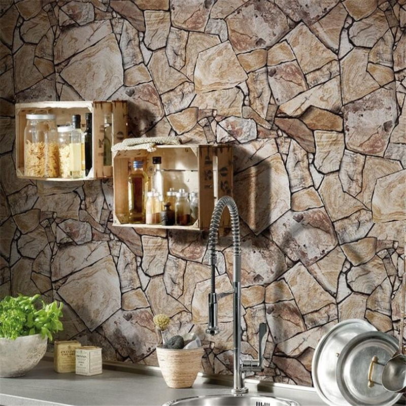 beibehang retro stone marble wallpapers 3d living room restaurant hotel brick texture home decoration wallpaper for walls 3 d in wallpapers from home - Brick Hotel Decoration
