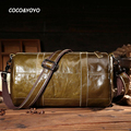 2016 Novo Design de Moda 100% Genuínos Homens de Couro Mensageiro Sacos de Alta Qualidade Verde Escuro Casuais Bolsos Dos Homens Sacos de Ombro Do Vintage