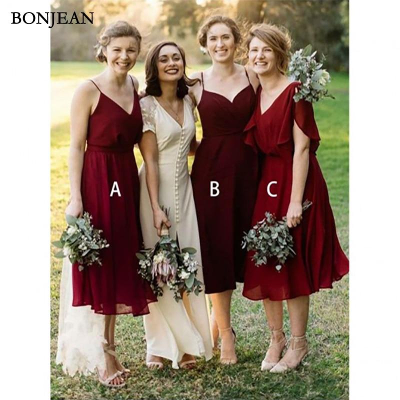 Simple   Bridesmaid     Dress   Sleeveless Formal   Dress   Chiffion Miamatched Sleeveless Long   Bridesmaid     Dresses   Plus Size Custom Made