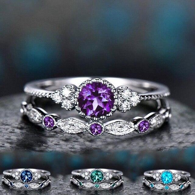 2 יח'\סט 2019 יוקרה ירוק כחול אבן קריסטל טבעות לנשים רסיס צבע חתונת אירוסין טבעות תכשיטים