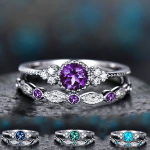 zheFanku 2Pcs/Set Stone Rings For Women Wedding Jewelry