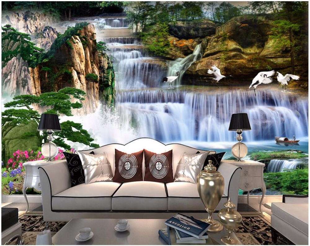 US $15 34 OFF Custom Photo 3d Room Wallpaper Chinese Landscape Waterfall Forest Landscape Painting 3d Wall Murals Wallpaper For Walls 3 D Mural
