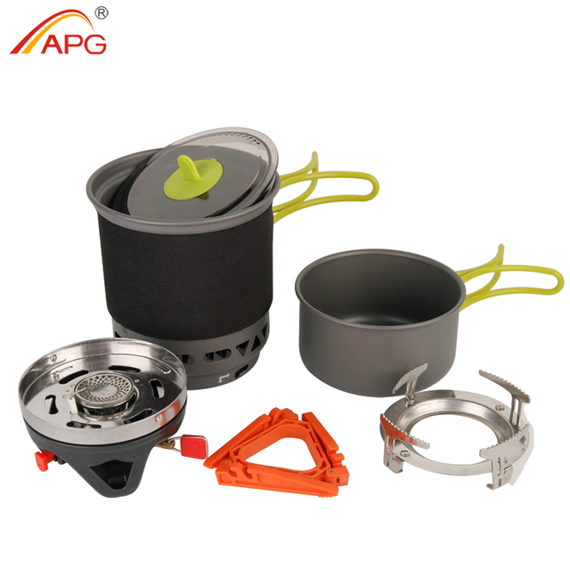 APG Camping Cookware Bowl Pot Pan Combination Portable Tableware gas cooking system stove outdoor cooker burners