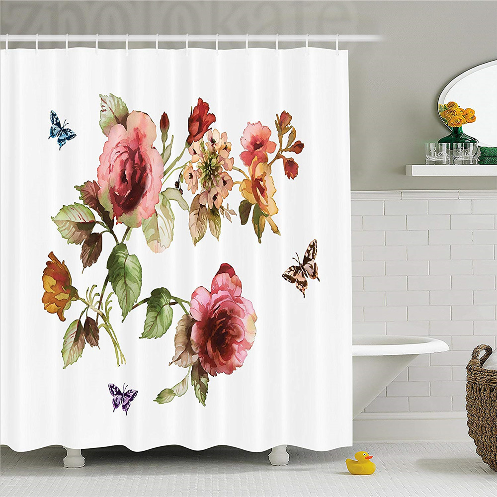 Flower Decor Shower Curtain, Shabby Chic Roses Buds Leaves Tulips Floral Details Butterf ...