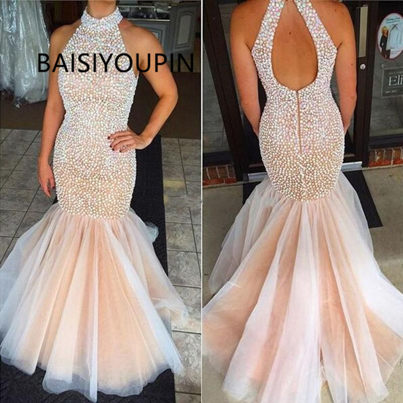 Champagne Long Mermaid   Prom     Dresses   Sleeveless High Neck Beaded Floor Length   Dresses   Evening Wear