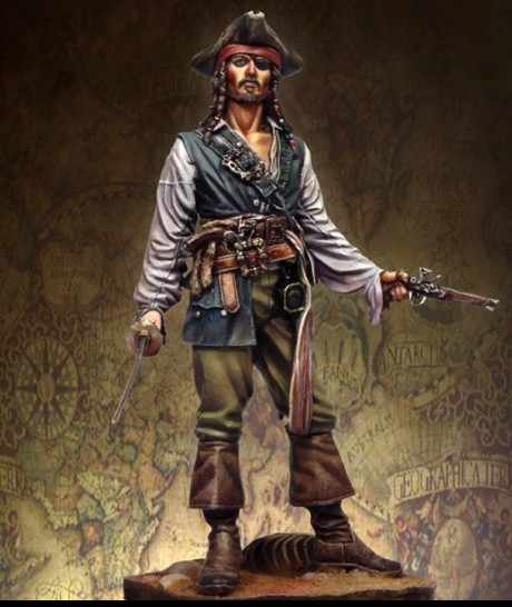 75mm Scale Pirates of the Caribbean Jack  Unpainted Resin Model Kit Figure Free Shipping