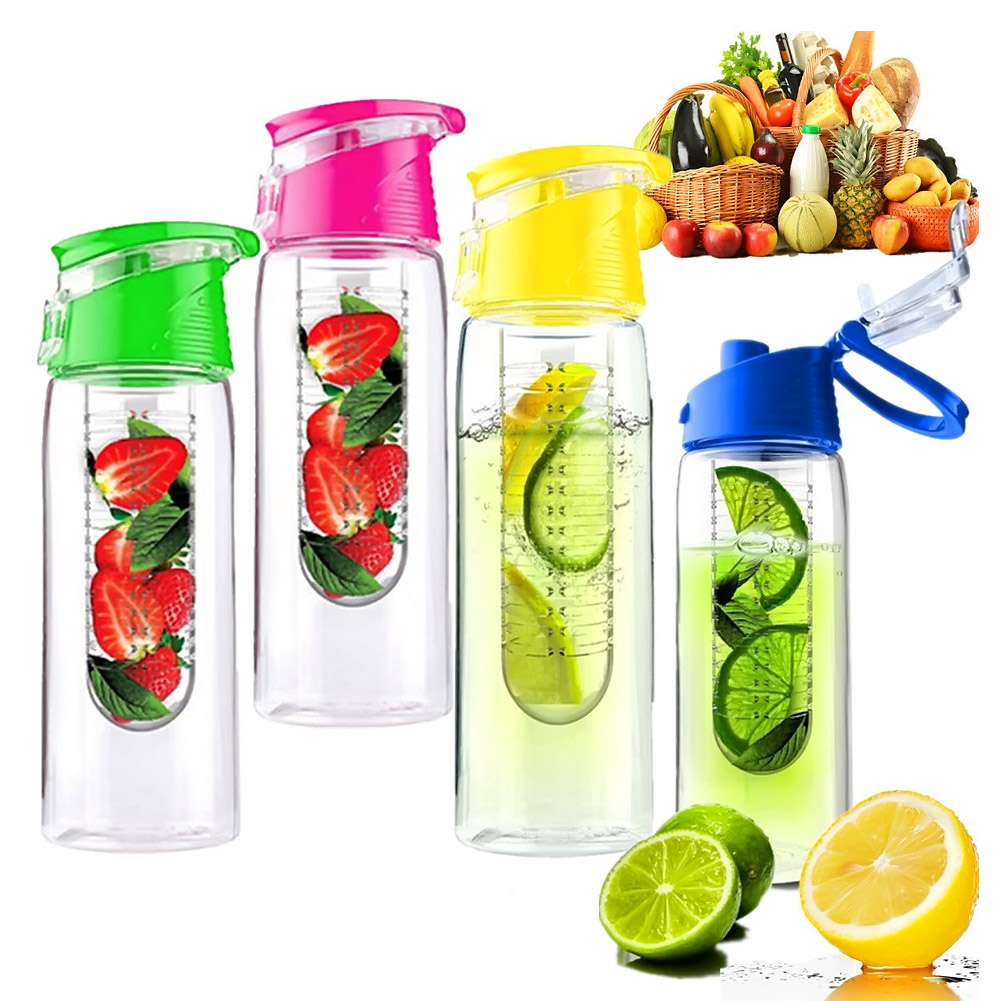 700ML Fruit Juice Infuser Water Bottle BPA Free Flip Lid Leak Proof Outdoor Tour Sport D ...