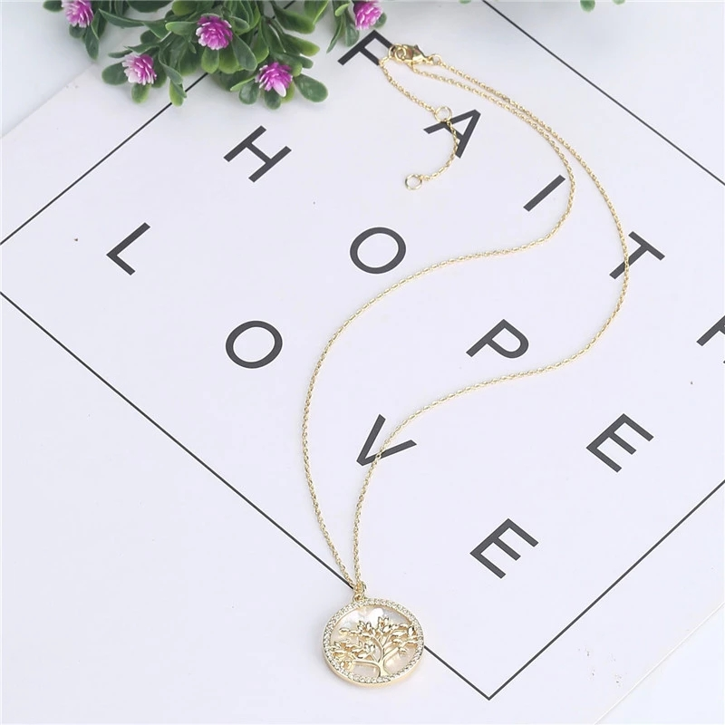 Popular Jewelry Gold Plated Brass CZ Pearl Shell Pendant Necklace Women (7)