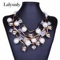 XL6142 New Design Large Simulated Peal Necklace Fashion Choker Collar Necklaces Gold Chains