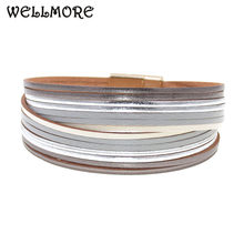 WELLMORE 6 Color Fashion Leather charm Bracelets For Women Men Multiple Layers wrap Bracelets Couples fashion Jewelry wholesale(China)