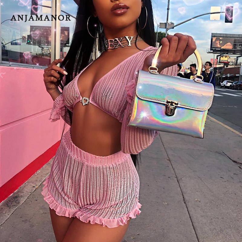 ANJAMANOR Ruffle Pink Mesh 2 Pieces Women Set Crop Top and Shorts <font><b>Sexy</b></font> Summer <font><b>Festival</b></font> Matching Sets <font><b>Club</b></font> Outfits D58-AD70 image