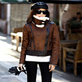 High Quality Leather Jacket Coat 2016 Winter Women Retro Suede Motorcycle Jackets Warm Fleece Leather Outwear Brown A2661