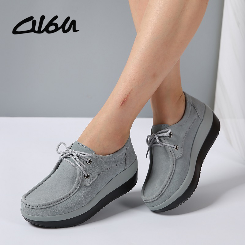 O16U 2017 Autumn Women Flats shoes thick soled Platform Shoes Leather sSede Casual shoes Lace up Flats Creepers Moccasins Basic women harajuku cartoon lace up wedges platform shoes 2015 casual shoes trifle thick soled graffiti flat shoes ladies creepers