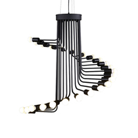 20 light loft retro LED Pendant Light heliciform AC220V 3W bulb Spiral Staircase drop Lighting fixture E27 holder EMS DHL
