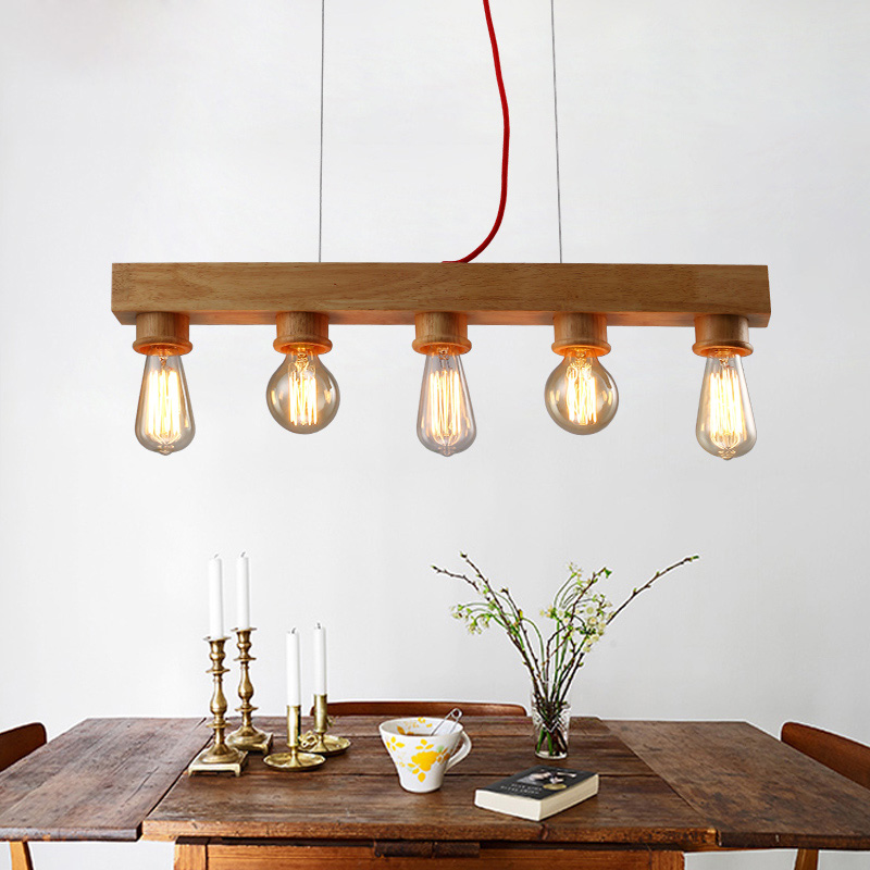 Vintage Wooden Suspension Wood Pendant light of 70*15cm, with E27 5 Pieces Edison Bulbs for Bar Cafe Room Lighting Fixture doge god annoying dog puzzle 1000 pieces of wood of adult heart disease mental funeral spree pollution erhu eggs