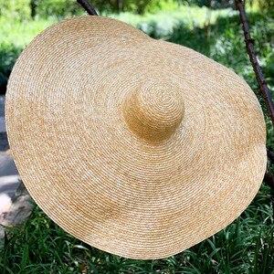 "Image 1 - 38 ซม./15 ""GIANT ขนาดใหญ่ฟางหมวกสำหรับหมวกผู้หญิงฤดูร้อนดวงอาทิตย์ Floppy งานแต่งงาน DERBY หมวกหมวกชายหาดวันหยุด Choice"