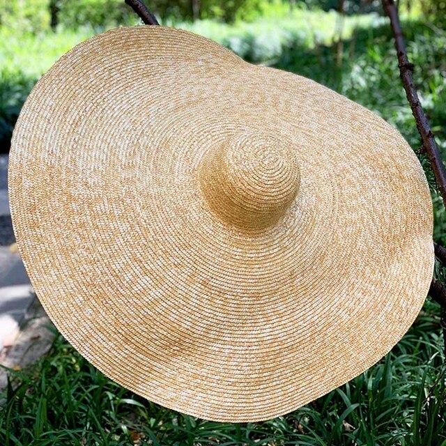 """38 ซม./15 """"GIANT ขนาดใหญ่ฟางหมวกสำหรับหมวกผู้หญิงฤดูร้อนดวงอาทิตย์ Floppy งานแต่งงาน DERBY หมวกหมวกชายหาดวันหยุด Choice"""