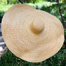 """38cm/15 """"여성용 대형 자이언트 밀짚 모자 여름 햇 모자 대형 브림 플로피 웨딩 파티 더비 모자 비치 캡 휴일 선택"""