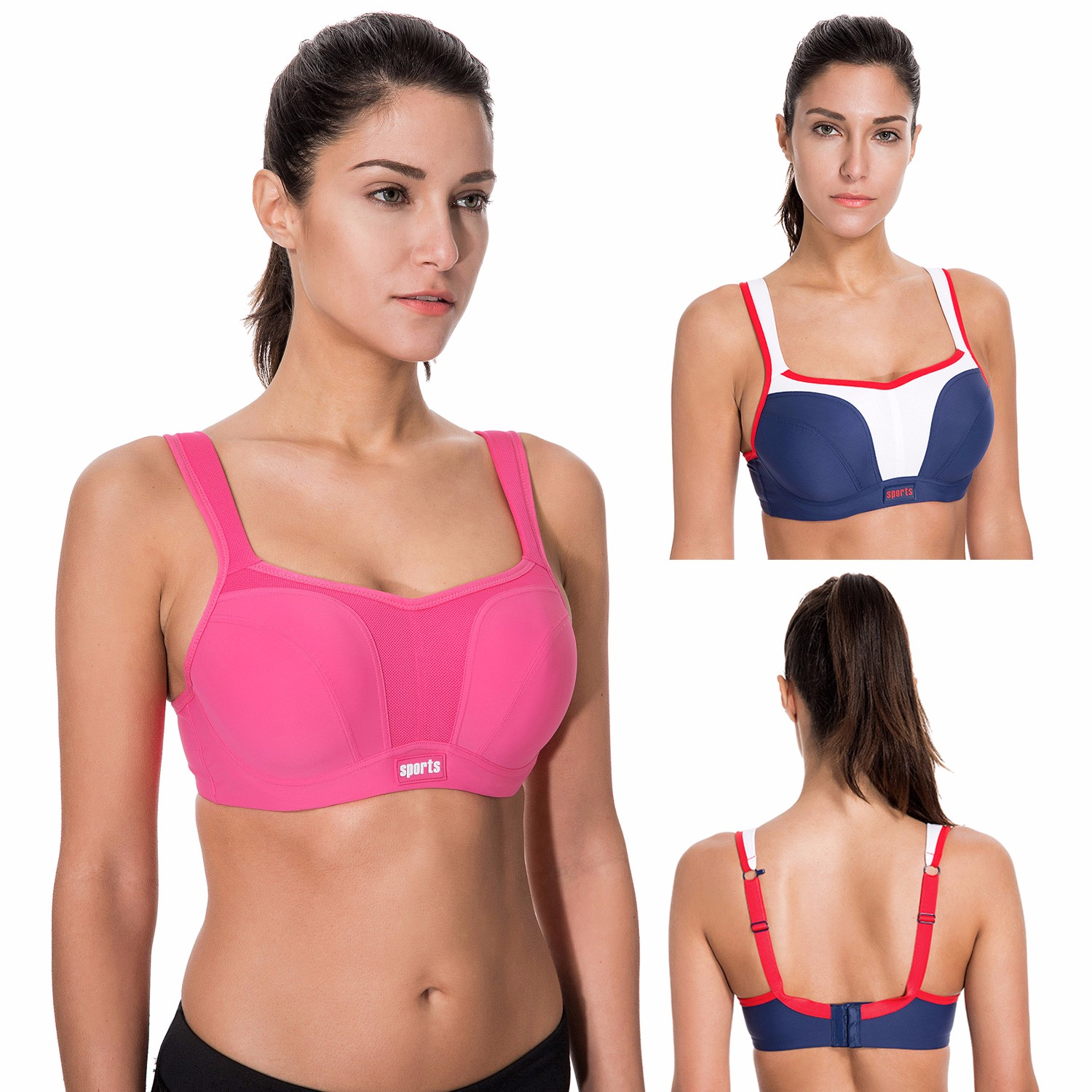 Women's High Impact Underwire Maximum Support Molded Cups Sports Bra high neck underwire tankini with padded cups