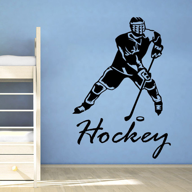 Ice Hockey Wall Decals Hockey Player Sport Gym Wall Decor Boy Room