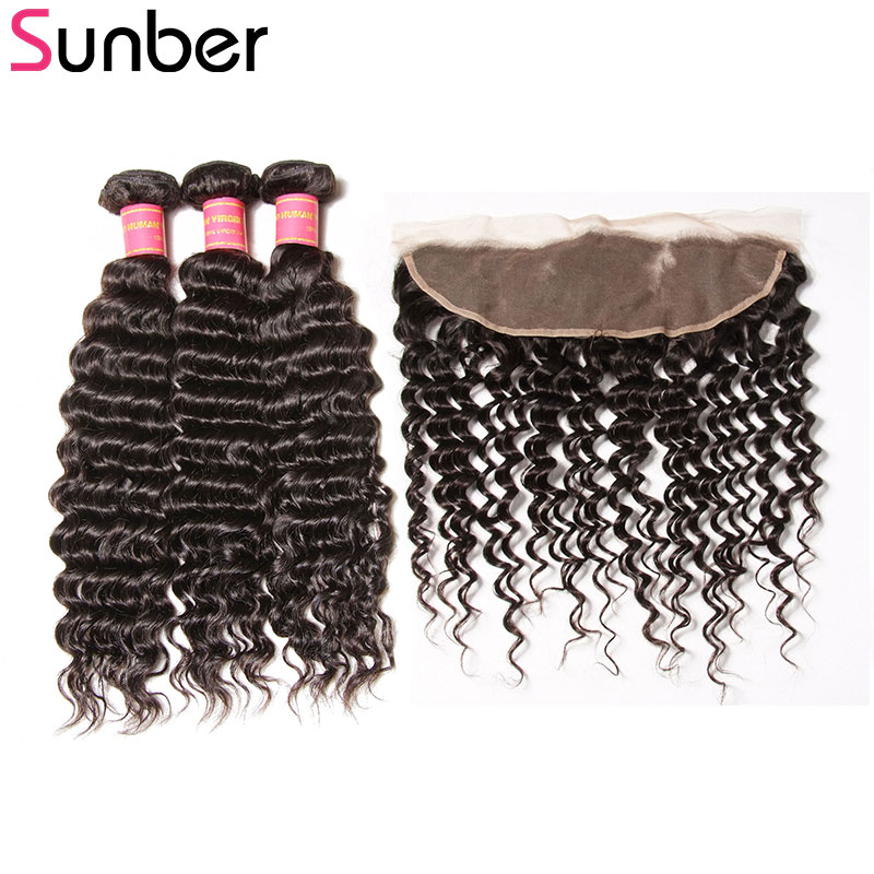 SUNBER HAIR Peruvian Deep Wave Bundles with Frontal 13x4 Free Part Pre Plucked Ear to Ear Lace Frontal with 3 Bundles Remy Hair