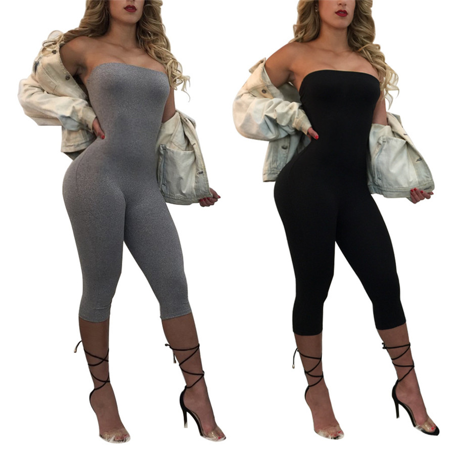 Free Shipping New Arrival Summer Jumpsuits for Women 2018 Gray Elegant Calf-Length pants Sexy Bodycon Jumpsuit Clubwear