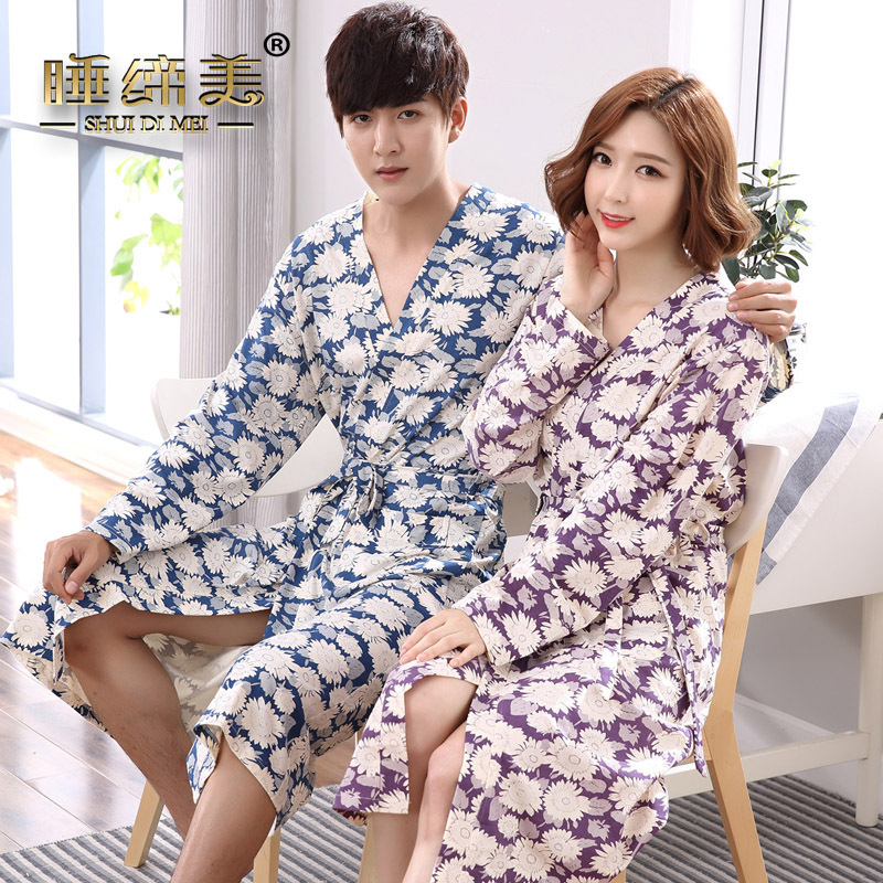 Couple mens womens matching japanese kimono style bath robe cotton yukata long  dressing gown fall winter sleep lounge house coat-in Robes from Underwear  ... cafead89a