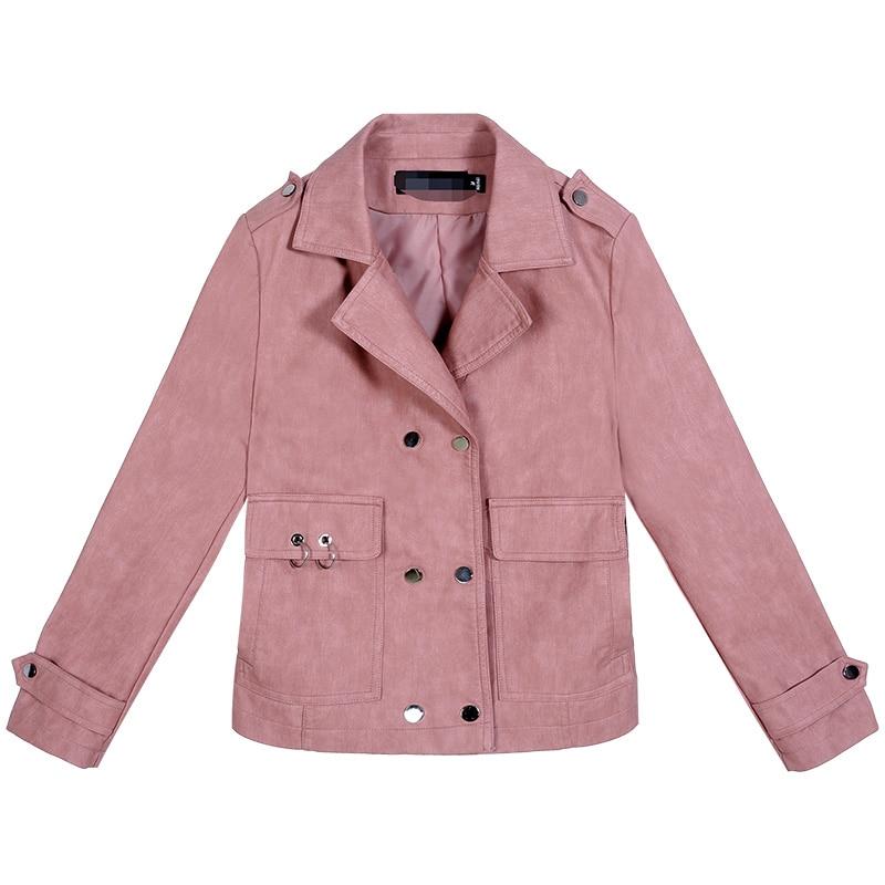 2019 New Womens Elegants Faux   Leather   Jackets Girls Short Korean Soft   Leather   Motorcycle Black Jacket Female   Suede   Coat Outwear