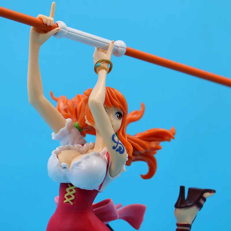 Uma peça bwfc relâmpago greve vara nami pvc sexy com base decoração 10 polegadas figura de ação collectible modelo brinquedo z245