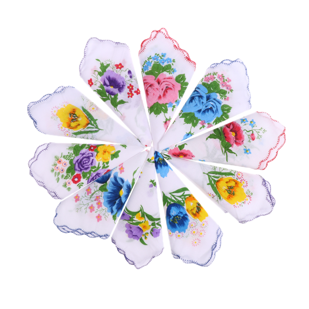 10pcs 100% Women Cotton White Handkerchiefs Ladies Hankies Square Handkerchiefs Assorted Colourful Flowers For Weddings Parties