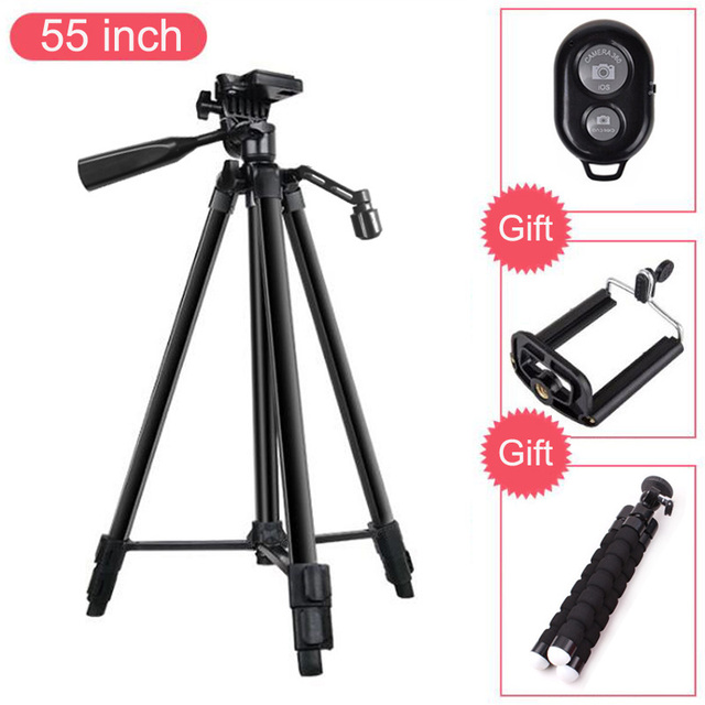 55 inch Professional Tripod for Camera Mobile Phone Holder for iPhone X 8 7 6 6S Plus for Xiaomi for Huawei Cellphones