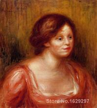 handmade oil painting reproductions Pierre Auguste Renoir Bust of a Woman in a Red Blouse High