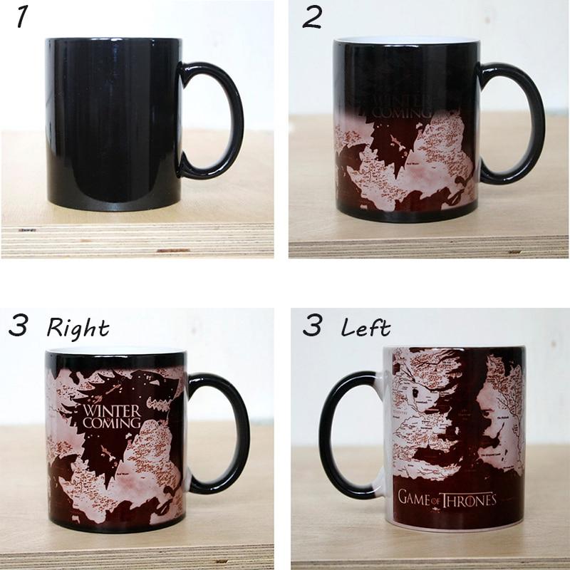Elszíneződés csésze GYŰJTEMÉNY JÁTÉK A bögre TÉLI FELSŐ Farkas Térképek Kávé Tejszín Változás Bögrék Kerámia kreatív meglepett ajándékok