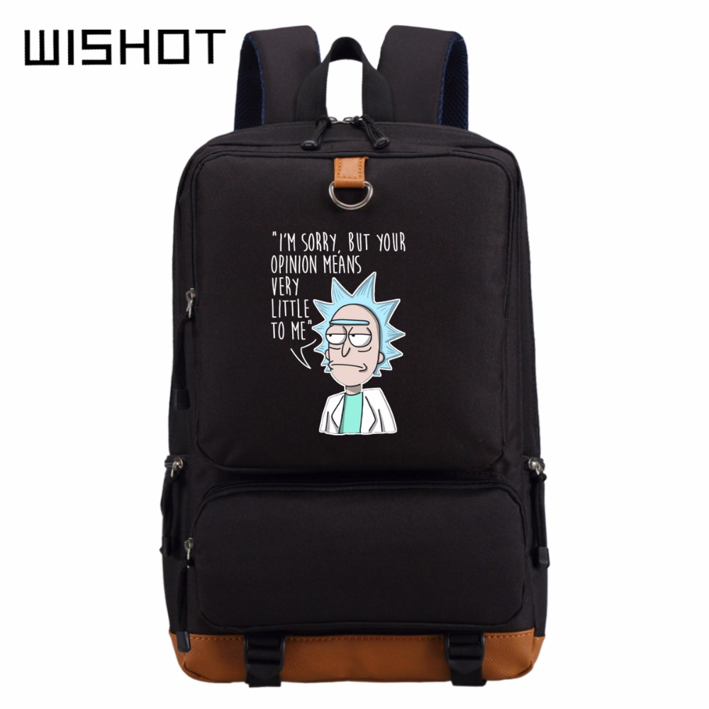 Wishot Rick And Morty  Backpack Schoolbag Casual Backpack Teenagers Men Women's Student School Bags Travel  Laptop Bags