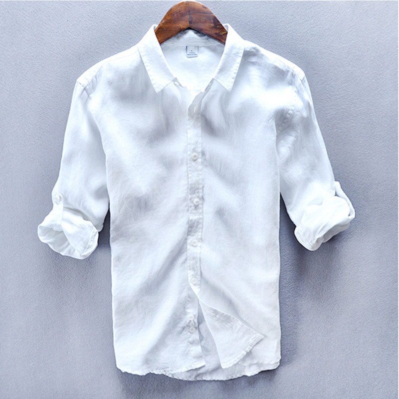 100% Linen turn-down collar Pure white shirt men summer spirng long sleeve men shirt camisa masculina Chemise homme mens shirts ...
