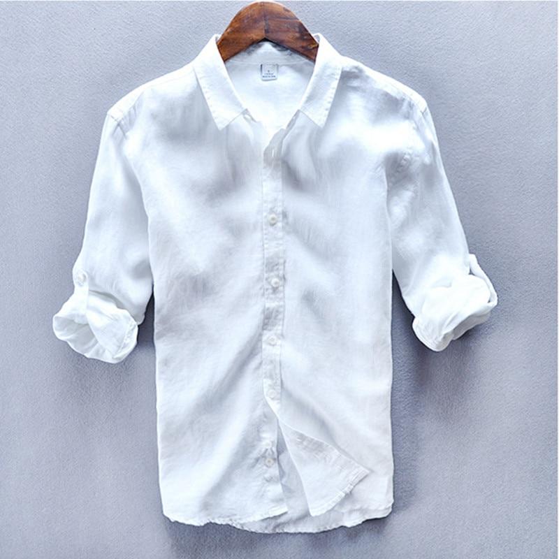 100 % 리넨 턴 다운 칼라 순수한 흰색 셔츠 남성 여름 spirng 긴 소매 셔츠 camisa masculina Chemise homme 망 셔츠