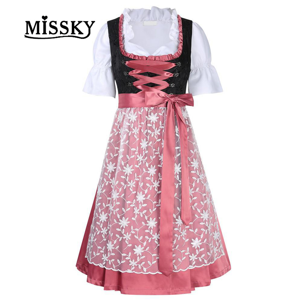 MISSKY Women's Oktoberfest Dress Floral Tie Layered Casual Dresses Suit for Oktoberfest Bavarian Dirndl for