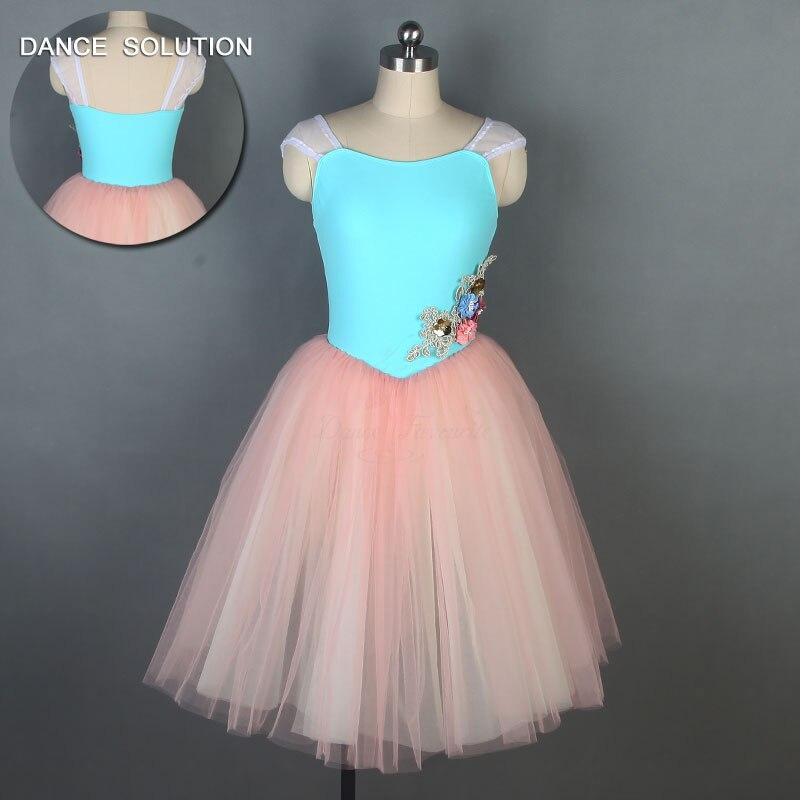 Pink Green Girls Women Romantic Style Ballet Dance Tutus Ballerina Dance Performance Costume Long Tutu Leotard