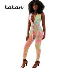 Kakan summer new womens printed jumpsuit Europe and America sexy sleeveless printing nightclub with belt