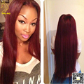 Темно-Красный Парик Человеческих Волос Девственницы Малайзии Бургундии Человеческого Волоса парик Шелковистая Прямая Кружева Перед Парики Цвет # 99J Для Доры женщины