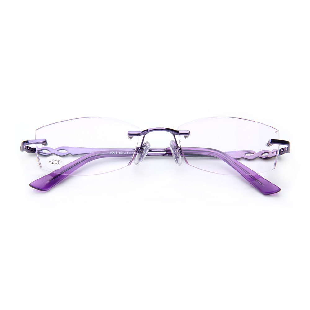 Fashion Frameless Reading Glasses Women Rimless Diopter ...