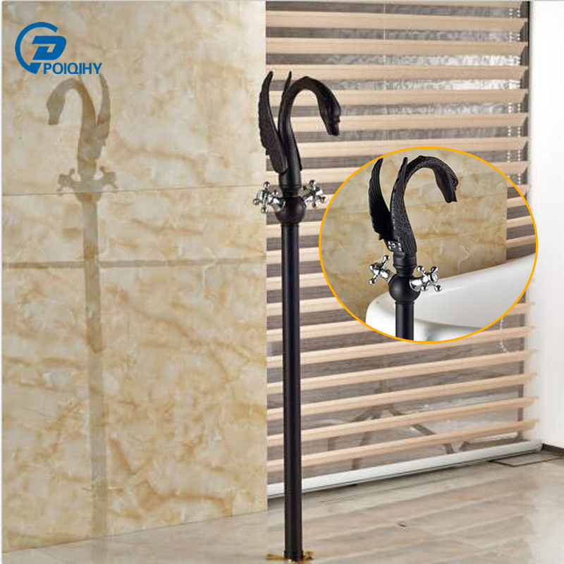POIQIHY Oil Rubbed Bronze Bathtub Mixer Faucet Floor Type Luxury Swan Shower Tub Faucet