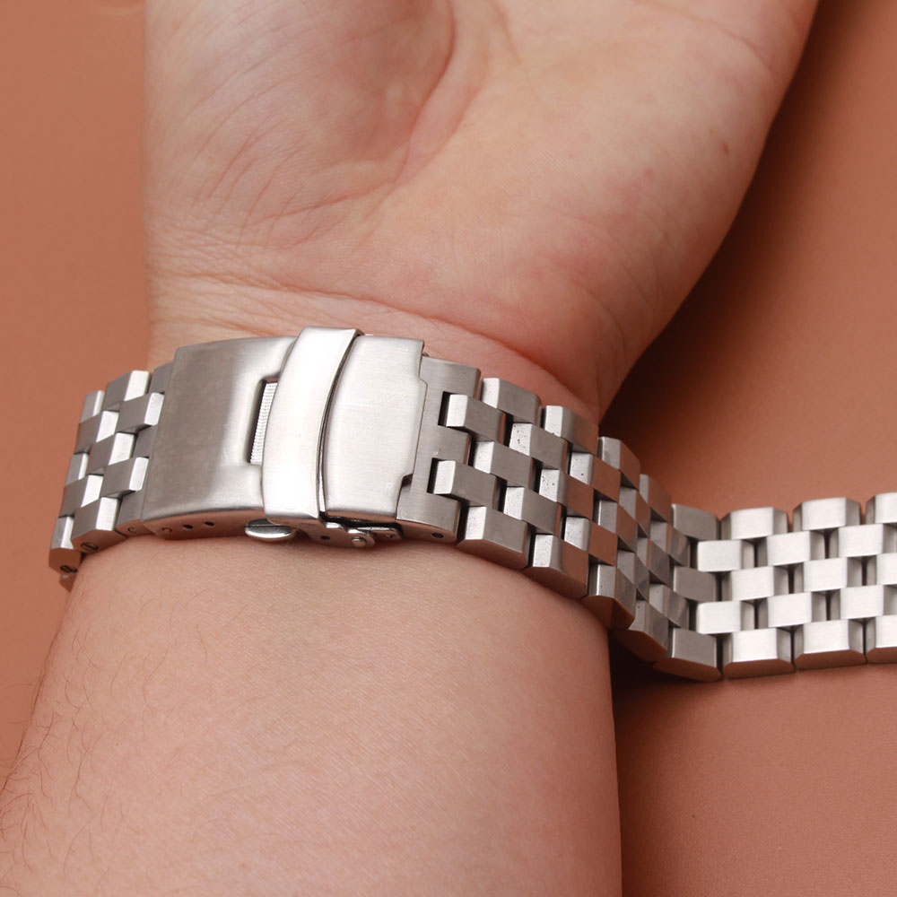 High quality Matte Stainless steel Watchband Unpolished Watch accessories with safety buckle 18mm 20mm 22mm 24mm strap bracelets loose stainless steel silver shark mesh watchband bracelets special end safety buckle 18mm 20mm 22mm 24mm promotion men s straps