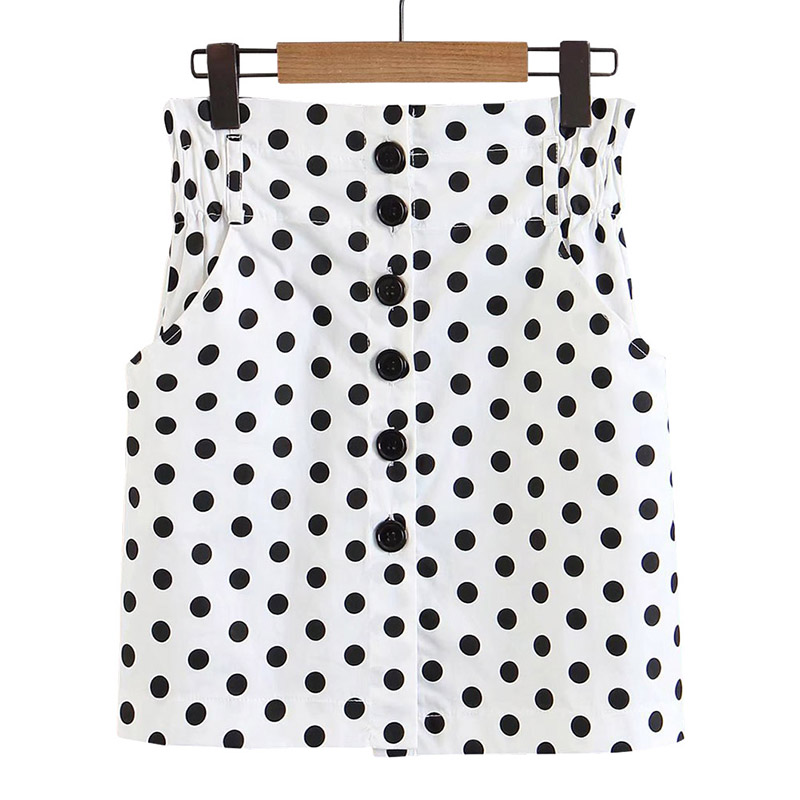 White Black Dots Casual Womens Single-breasted Decorative Double Side Pocket Elastic Waist 2018 Tights Hip Skirt
