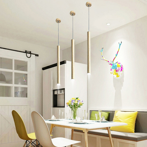 Image 5 - led Wood grain Pendant Lamp dimmable Lights Kitchen Island Dining Room Shop Bar Counter Decoration Cylinder Pipe Hanging Lamps