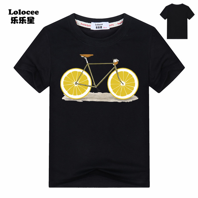 Summer Funny Fruit Bicycle Print t-shirt Girls Casual Cotton O-neck Tee Tops Kids t shirt Clothing Boys Pineapple tshirts 3-13y цена 2017