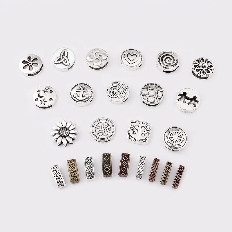 10pcs Antique Silver Wheel Spacers Adapters Slider Spacer Jewelry Material Spacers For Jewelry Making For 10*2mm Leather Cord